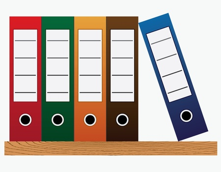 archive: Colored office folders at the bookshelf on the white background.