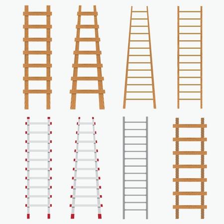 Conjunto de escaleras diferentes en el fondo blanco.