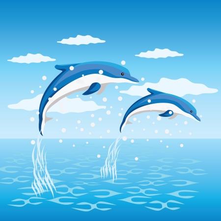Dos delfines saltando en el mar.