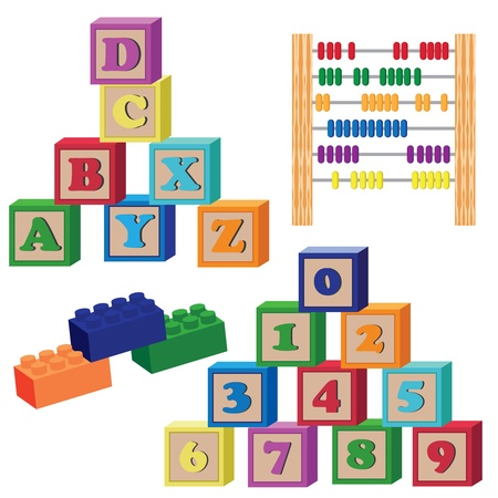block letters: Set of children toys on the white background.