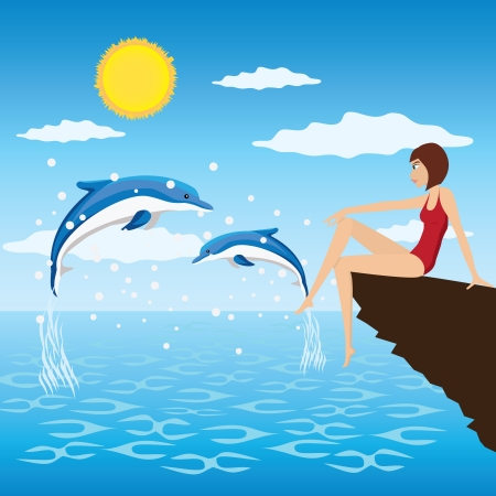 Young woman sit near a sea and look at the jumping dolphins.