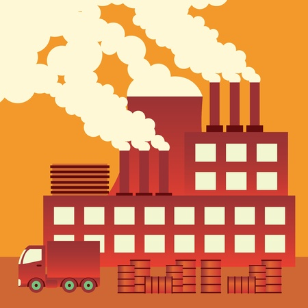 toxic cloud: Industrial complex with smokestacks blowing pollution into the air.