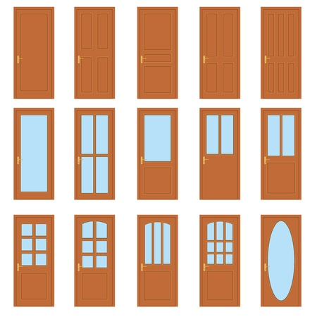 glass doors: Set of the various doors on the white background. Illustration