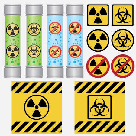 caution chemistry: Objects with radioactive and biohazard labels on the white background.