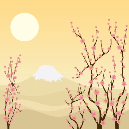 Illustration of sakura branches with mountain on the background. Vector