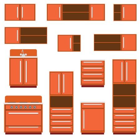kitchen furniture: Set of the kitchen furniture on the white background.