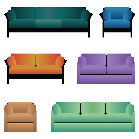 Set of sofas and armchairs. Stock Vector - 16783352