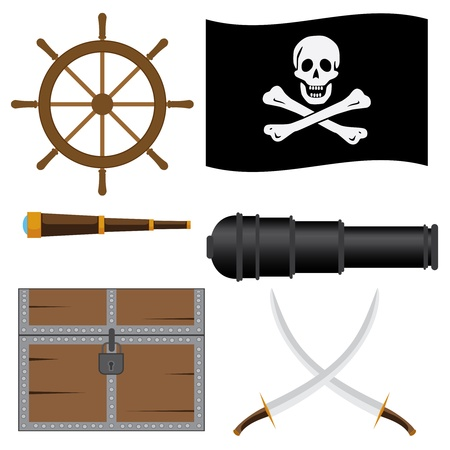 Set of pirate's icons on the white background. Stock Vector - 16921215