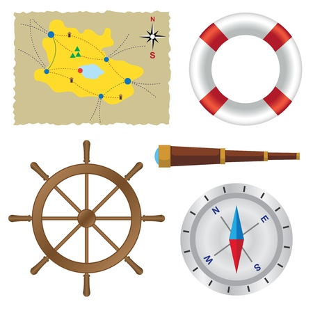 spyglass: Set of objects for sailing on the white background.