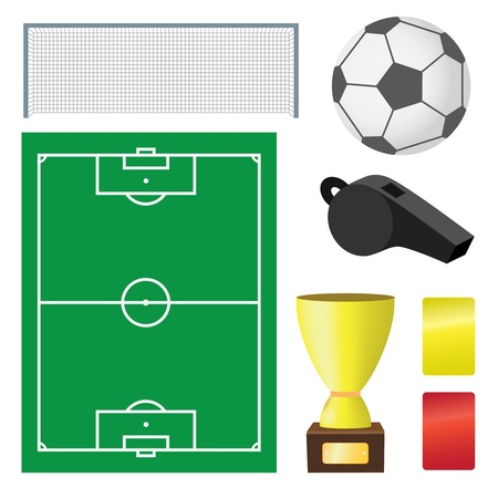 red and yellow card: Objects for soccer game on the white background.