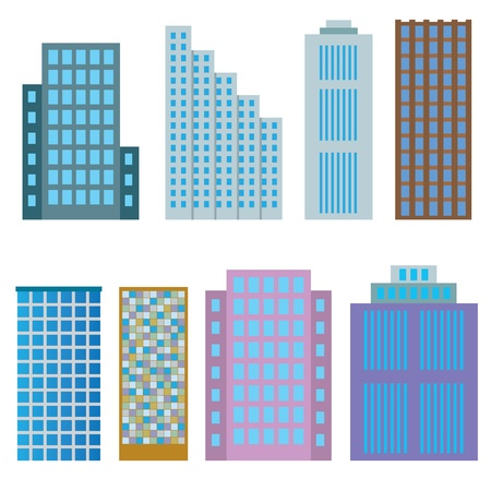Set of modern houses on the white background. Stock Vector - 17313928