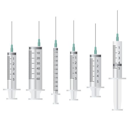 antidote: Set of empty syringes on the white background. Illustration