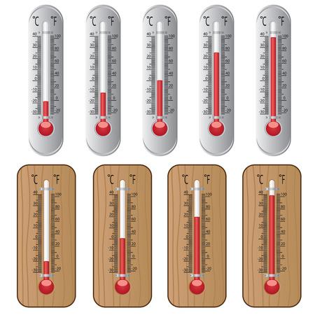 termometro: Conjunto de termómetros en el fondo blanco.