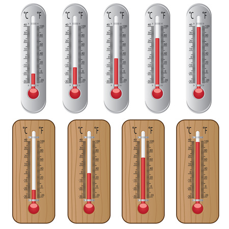 Set of thermometers on the white background. Illusztráció