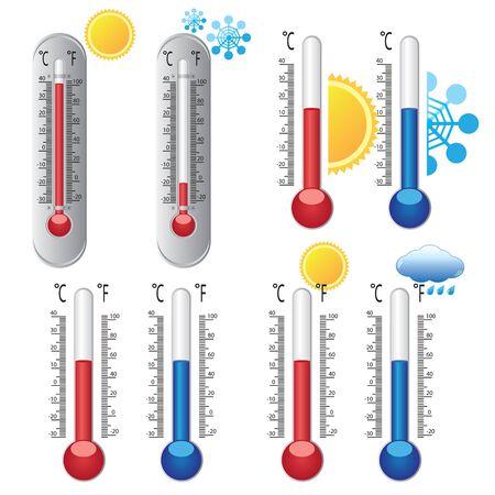 meteo: Set di termometri con icone meteorologiche su sfondo bianco. Vettoriali