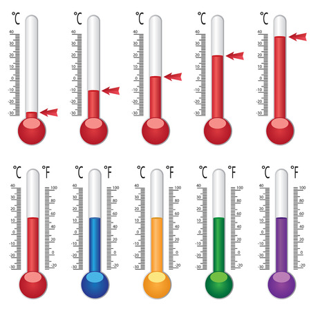Set of thermometers with coloured liquid on the white background.