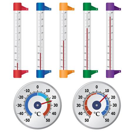 thermometer: Conjunto de termómetros para la ventana en el fondo blanco. Vectores