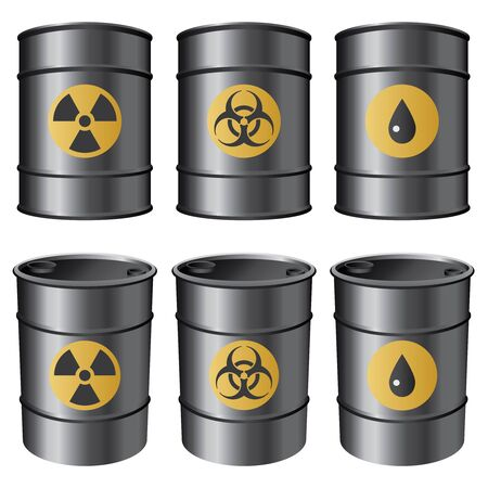 Set of black barrels with various labels on the white background. Vector