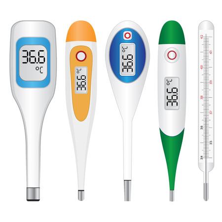 thermometer: Conjunto de termómetros electrónicos en el fondo blanco. Vectores