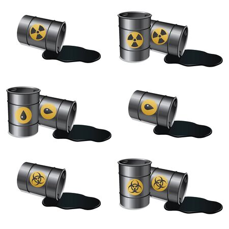 barrels set: Set of barrels with various materials on the white background. Illustration