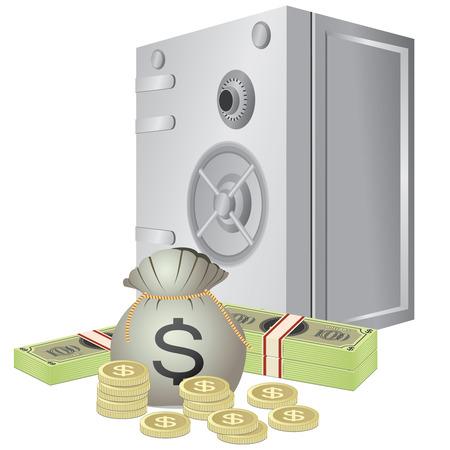 caja fuerte: Seguro y dinero en el fondo blanco. Vectores