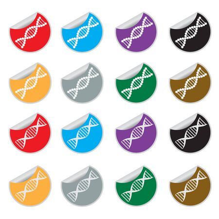 genomes: Set of colored stickers with images of DNA on the white bacground. Illustration
