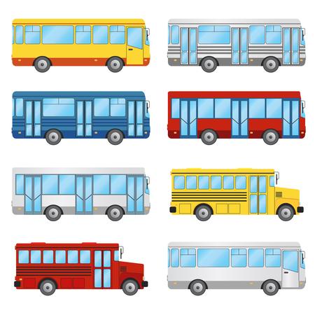 public school: Set of buses on the white background. Public transport, tourism, school bus.