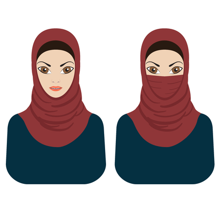 beauty girls: Images of young muslim women wearing paranja and hijab on the white background. Illustration