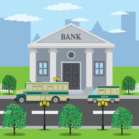 Bank buses are on the road near bank building.