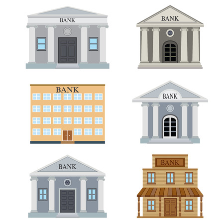 Set of bank buildings on the white background. Stock Illustratie