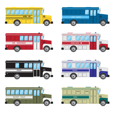 emergency services: Set of buses of emergency services on the white background.