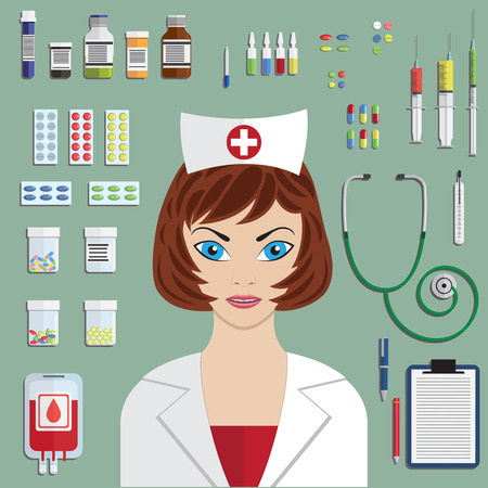 pharmacy pills: Set of flat medical objects with nurse portrait.