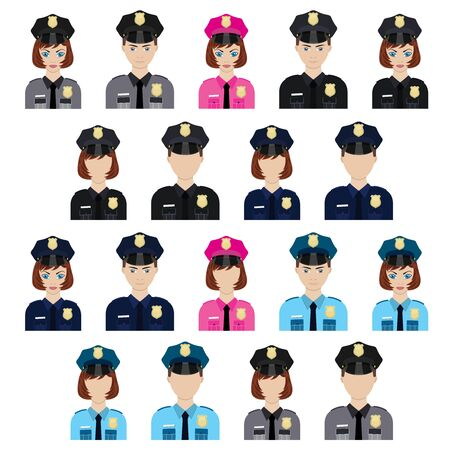 policemen: Set of policemen characters icons. Policemen and policewomen. Illustration
