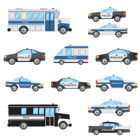 enforcement: Set of police vehicles on the white background.
