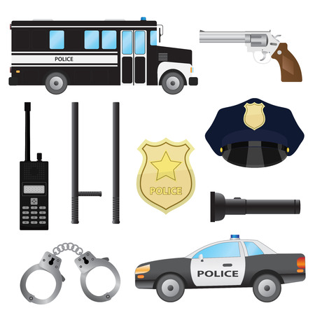 police hat: Set of police objects. Car and bus, handcuffs and baton, radio and gun.