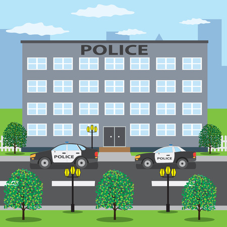 Police building and two police cars on the road. Illustration