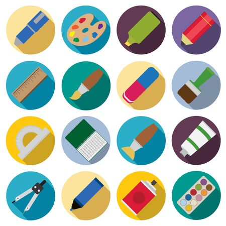 paintbrush spray: Set of flat painting icons. Pen and pencil, paintbrush and spray, eraser and ruler.
