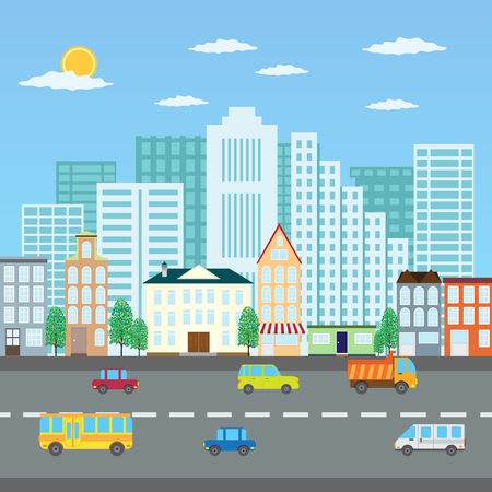cartoon cloud: View of a city in the summer and road with cars