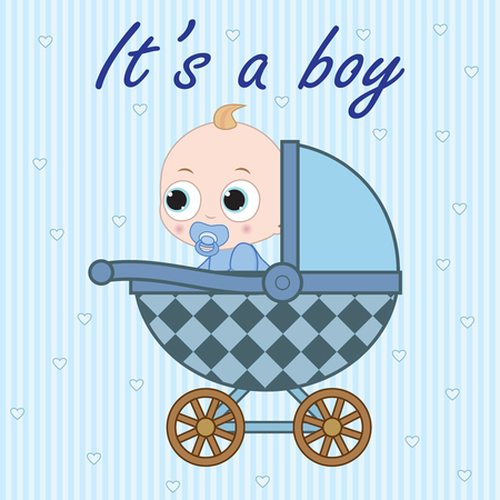 0 6 months: Little baby boy sitting in the baby carriage Illustration
