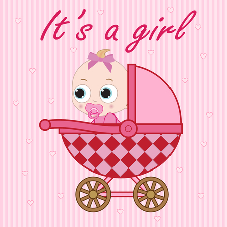 0 6 months: Little baby girl sitting in the baby carriage. Illustration