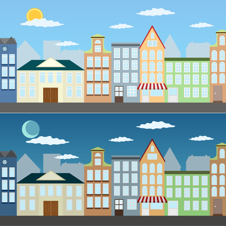 residential building: Cityscape at day and at night in the summer