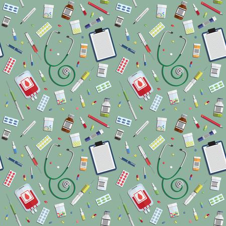 Naadloos patroon met medische pictogrammen op groene achtergrond