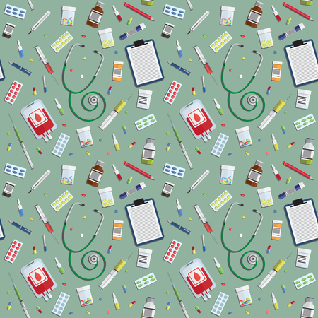 medical icons: seamless pattern with medical icons on green background Illustration