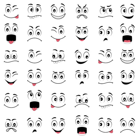 volti: Cartoon facce con espressioni diverse, con gli occhi e la bocca, elementi di design su sfondo bianco