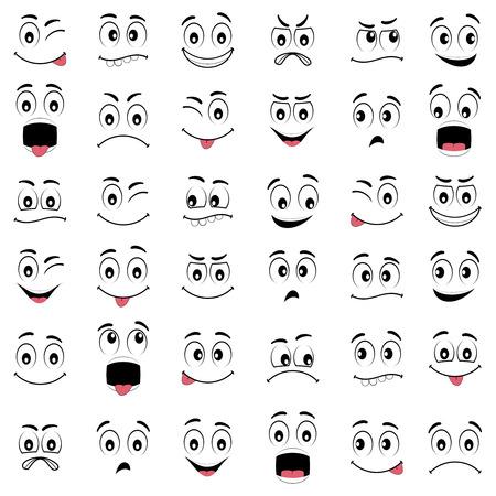 Dibujos de caras con diferentes expresiones, con los ojos y la boca, elementos de diseño sobre fondo blanco