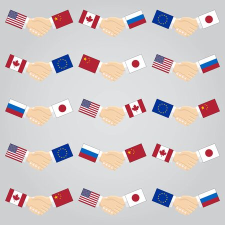 china business: Set of icons of handshake between countries. Partnership concept. Russia and USA, China and European Union, Japan and Canada.