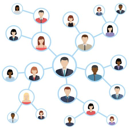 community group: Flat icons for social media and network connection concept. Vector illustration