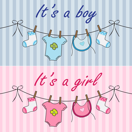 Announcement cards with baby cloths for boy and girl Illustration