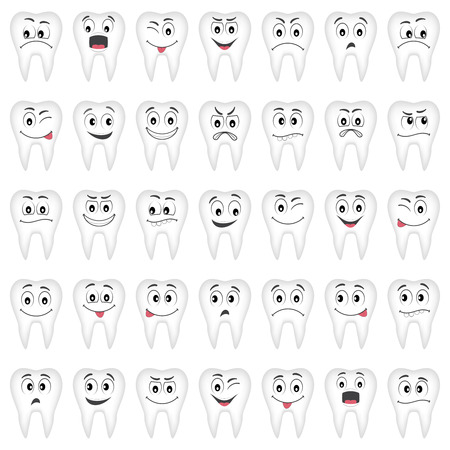 vector cartoons: Teeth collection for your design. Many various vector cartoons - sad, happy, etc.