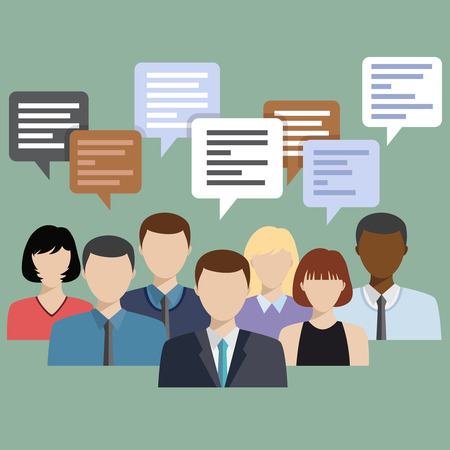 group network: Business people group talking. Chat communication. Social network flat icon design vector illustration. Illustration